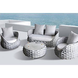 Wholesale polyester sofa fabric: Circle Designed European Style 4 PCS Balcony Polyester Fibre Weave Outdoor Sofa Set