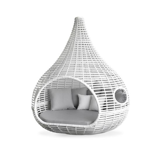Hormel High End Cocoon Shaped Lounge Bed Outdoor Sunbed Garden Furniture Rattan Daybed with Canopy