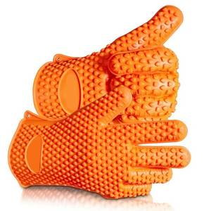 Wholesale grill gloves: HornTide Heat Resistant Silicone Gloves Five-Fingered Grip