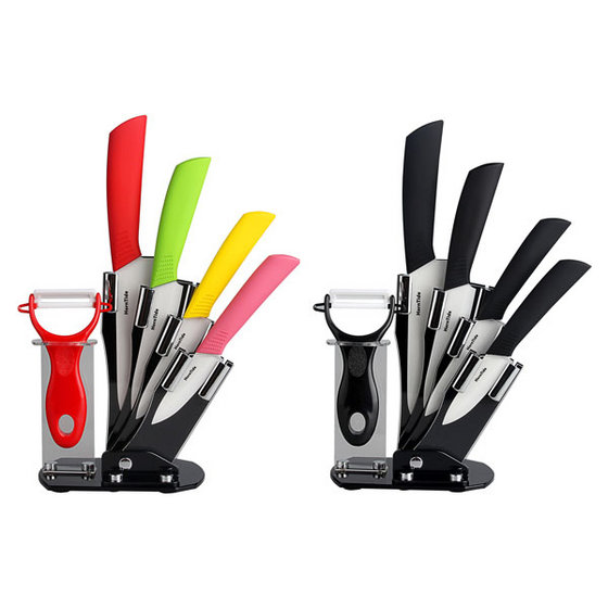HornTide 6-piece Ceramic Knife Set 3 4 5 6 Inches with Peeler Block