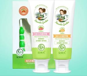 Wholesale natural toothbrush: Anbeier Baby Crystal Toothpaste Baby Natural Fluoride-free Strawberry Orange Toothbrush