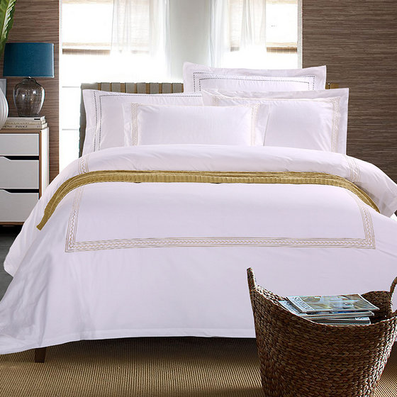 Wholesale 300TC White Plain Luxury Hospital Hotel Sheets Bed Bedding Set Cotton