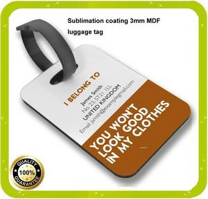 Wholesale baggage tag: Real Manufacturer Sublimation MDF Luggage Suitcase Tag