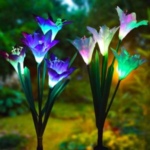 Wholesale solar lights: Solar Garden Decorations Artificial Glowing Flowers with LED Light