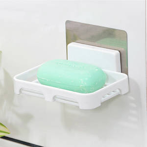 Wholesale soap holder: Wall Mounted Plastic Bathroom Soap Dish Holder with Magic Sticker
