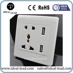 Wholesale china mobile diagram: CE Multi 5 PIN Female Plug Socket Outlet with USB for Hotel