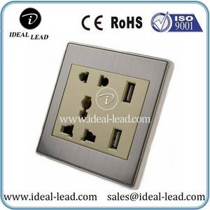 Wholesale led flame light: Brushed Stainless Steel Universal USB 5 PIN Wall Socket Outle