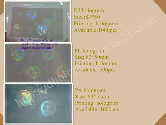 FL,NJ ,PA, IL,OH,MD,RI,SC ID Hologram Overlays for Novelty PVC Cards