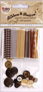 Wholesale Arts & Crafts Stocks: Christmas Craft Accessories of Ribbons and Buttons (LBV01)
