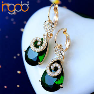 Wholesale fashion costume jewelry: Elegant Gemstone Rhinstone Stylish Jewelry Clip-on Earrings Gold Plated