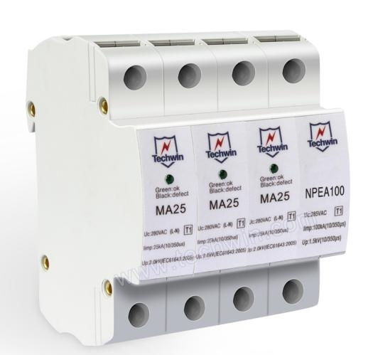 Sell Techwin DIN rail 25kA Class 1 surge protection device SPD for Tri-phase