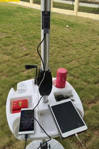 Wholesale solar mobile charger: Outdoor Solar Umbrella with Battery Mobile Phone Charger