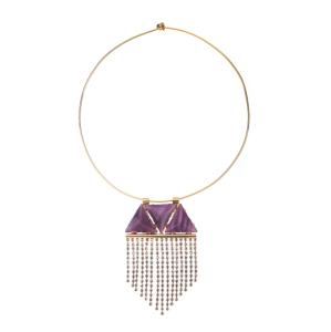 Wholesale stone necklace: Noble Necklace Purple Triangles