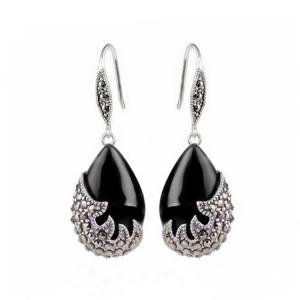 Wholesale sterling silver: Vintage Sterling Silver Black Onyx with Marcasite Dangle Drop Earrings (E12033BLACK)