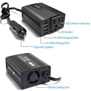 Wholesale converter: SolarEn150W Car Power Inverter Solar Inverter DC 12V To 110V AC Converter with 3.1A Dual USB Charger