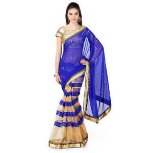 Wholesale Saris: Designer Half Half Blue Net Saree with Border