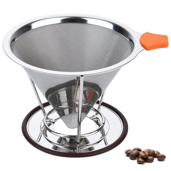 Metal Coffee Strainer Stainless Steel Pour Over Cone Coffee Dripper Strainer