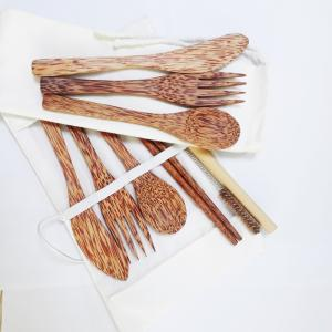 Wholesale fork: Coconut Wooden Spoon, Fork, Knife, Chopstick Flatware Travel Utensils Cutlery Set