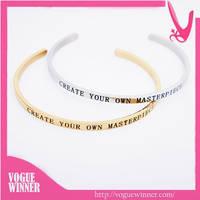 Wholesale Stainless Steel Bracelets with Inspirational Custom Message Mantraband Bangle