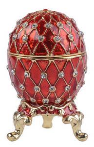 Wholesale faberge egg pendant: Faberge Egg Jewelry Trinket Box Pewter Ornaments