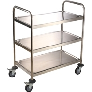 Wholesale stainless steel tubing: Round Tube Stainless Steel Trolley Kitchen Equipment Hand Cart
