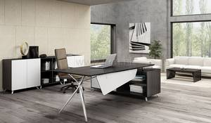 Wholesale office desk: Modern Executive Office Desk in Gray