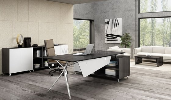 Modern Executive Office Desk in Gray