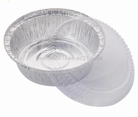 Aluminium Foil Container Round Kitchen Plates/Bowl/Tray with Lid for Food Wrap