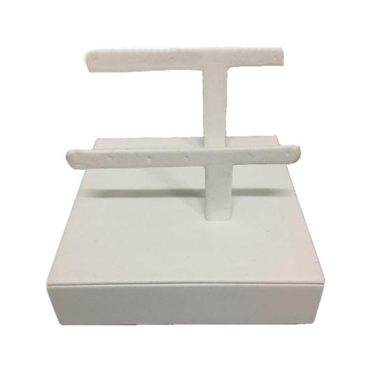 Sell High quality customized 2-tier T-shaped white velvet earring stand