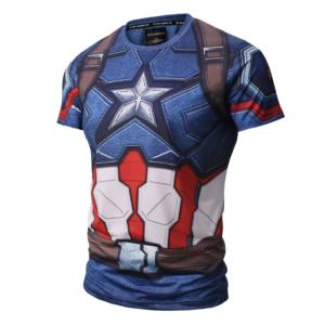 Wholesale tee: Men's Compression Sports Shirt Cool Captain US Running Short Sleeve Tee