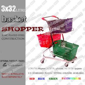 Wholesale cargo trolley: Zinc Plated Wire Base Three Shopping Basket Trolley