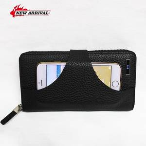 Wholesale leather credit card wallet: Anti Theft Men's Wallet with 4000mAh Lithium Battery Power Bank Wireless Charging