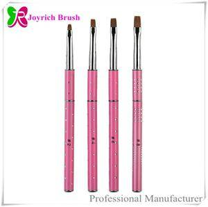 Wholesale hair gel: Best Kolinsky Hair Gel Nail Brush with Pink Metal Handle