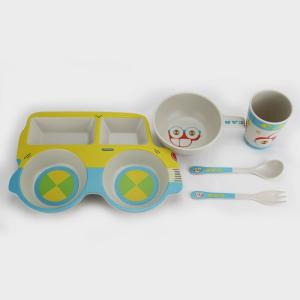 Wholesale tableware set: 5PC Dinnerware Set Bamboo Fiber Kids Tableware Set