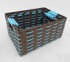 Wholesale storage basket: rectangle Paper Rope Storage Basket in Brown Color