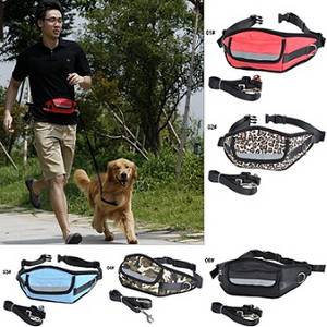 Wholesale waist bag: People and Dog Running Waist Bag and Leash Rope Set