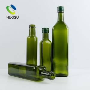 Wholesale green olive oil bottle: High Quality 500ml 700ml 750ml Square Green Olive Oil Virgin Glass Bottle Wholesale Price