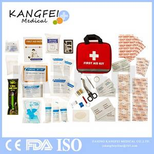 Wholesale survival kit: FDA Approved KF442 Red Fabric Bag with Emergency First Aid Kit