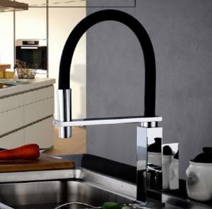 Wholesale hoses: Brass New Designed Black Hose Rotatable Mixer Kitchen Tap T0165BR