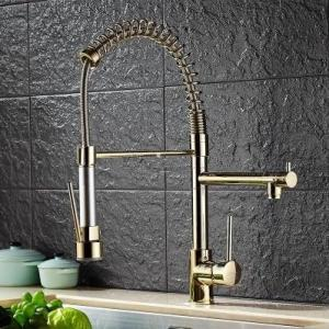 Wholesale pull out mixer tap: Antique Brass Golden Kitchen Pull Out Mixer Sink Tap T2980G