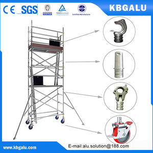 Wholesale mobile scaffold: Single Width Aluminum Scaffold Tower with 4.0m Standing Height