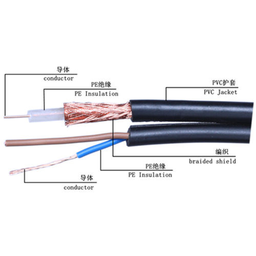 high Quality Siamese Cable SYV 75-5 + RVV 2X0.5 Combo Cable Coaxial Cable