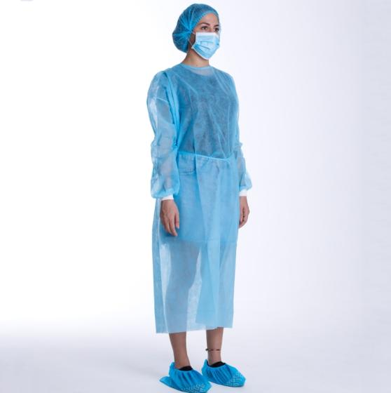 Factory Non Woven SMS Medical Protective Disposable Isolation Gown with Knit Cuff Breathable Gown