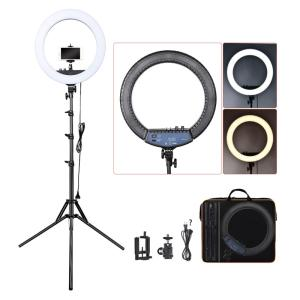 Wholesale table reading light: 18 Inch Dimmable LED Circle Makeup Selfie Ring Light with Tripod Stand