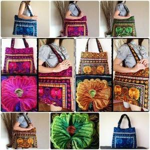 Wholesale used clothes: Colorful Embroidered Large Beach Hand Bag Tote