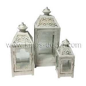 Wholesale white candle: Cheap Antique White Metal Candle Lanterns SET3