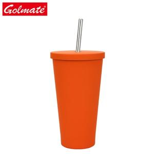Wholesale straw cup: Wholesale Customized Cup 500ml 304ss Termos Coffee Mug with Straw