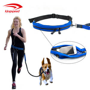 Wholesale running belt: Multifunctional PET Dog Walking Jogging Running Waist Pouch Belt with Bungee Hands Free Dog Leash