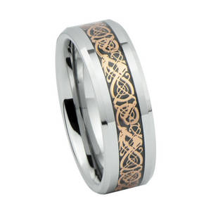 Wholesale gold jewelry: 2014 Fashion Vogue Jewelry Rings, Rose Gold Pattern Inlay Tungsten Carbide Celtic Wedding Rings