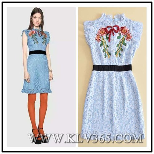 High Quality Designer Clothing Wholesale Women Fashion Embroidery Lace Party Dress
